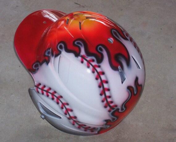 Airbrushed Baseball Batting Helmet Flaming Baseball New