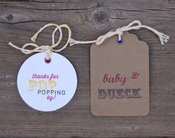 "POP Baby Shower Gift Tags, ""She's gonna POP"" Shower Party Tags and Labels - Quantity 25"