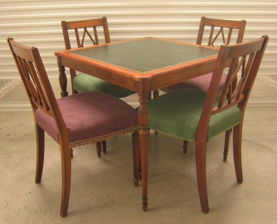 Vintage Leather Top Card Table And Chairs