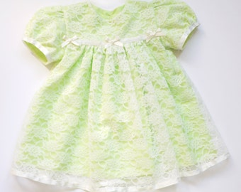 Tia - Cream Lace over Pale Apple Green Poly Cotton Baby Dress