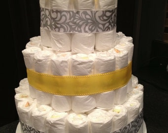 Gender Neutral 3-Tier Diaper Wedding Cake 14 inches