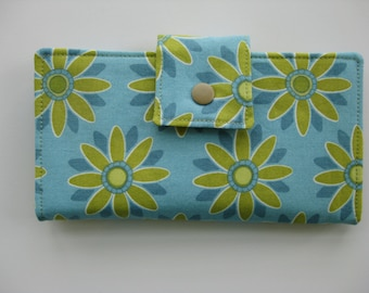 Ladies  Handmade Wallet in Shades of  Blue and  Olive Green.