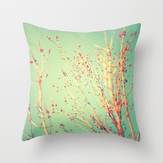 Items similar to Spring Tree Decorative Pillow, Teal and Red plush pillow, home decor, throw ...