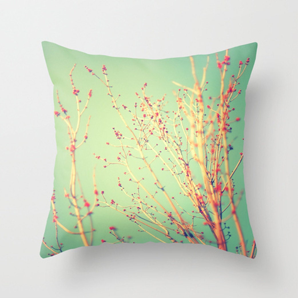 Spring Tree Decorative Pillow Teal and Red by HappyPillowShop