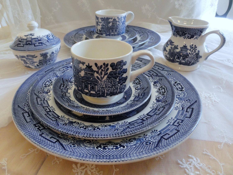 Churchill England Dinnerware Set Willow Pattern