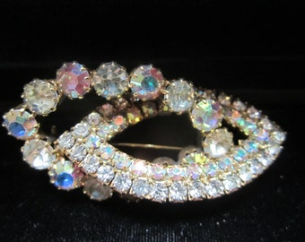 BRILLIANT Aurora Borealis and Clear Rhinestone Versatile Brooch and Pendant-VNTG