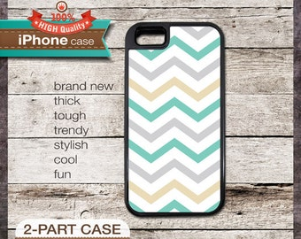 Modern Chevron 26 Greys and Teal Design - iPhone 6, 6+, 5 5S, 5C, 4 4S, Samsung Galaxy S3, S4