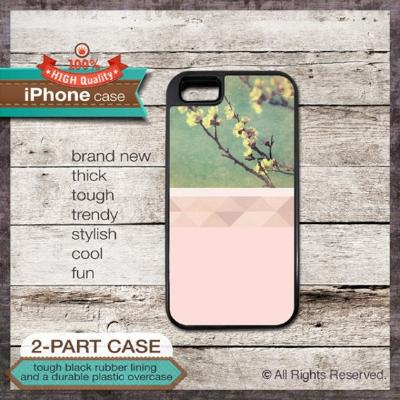 iPhone 5 Case Pastel Geo Design No. 3 with Green, Soft Pink and Flowers - Design Cover 158