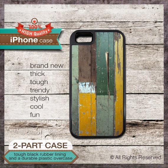 iPhone 5 Case or iPhone 4/4S Case Wall Texture 12 with Green and Mustard Painted Wood