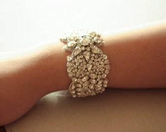 Wedding Statement Bracelet, Bridal Bracelet, Jewelry  - Jill Silver  (Made to Order)