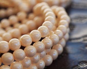 30 Cream 6mm Round Druk Czech Glass Beads (N007)