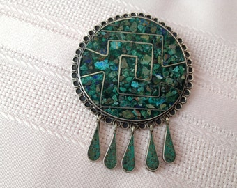 Mexican Sterling Silver Brooch and Pendant with inlaid Turquoise Vintage 1960s