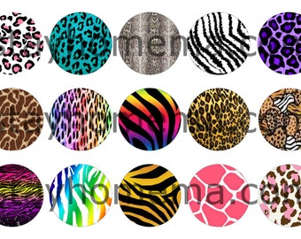 INSTANT DOWNLOAD One Inch 4x6 Bottlecap Images: Animal Prints