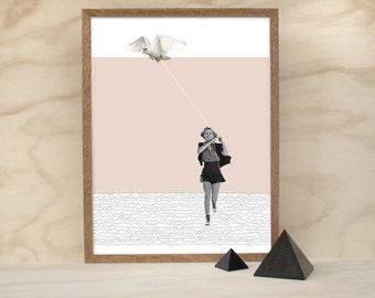 marha (a3 vintage retro bird pink grey pencil collage giclee art print)