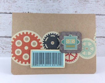 Retro Robot Card with Blue Barcode