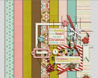 Merry Little Christmas Mini Digital Scrapbooking Kit