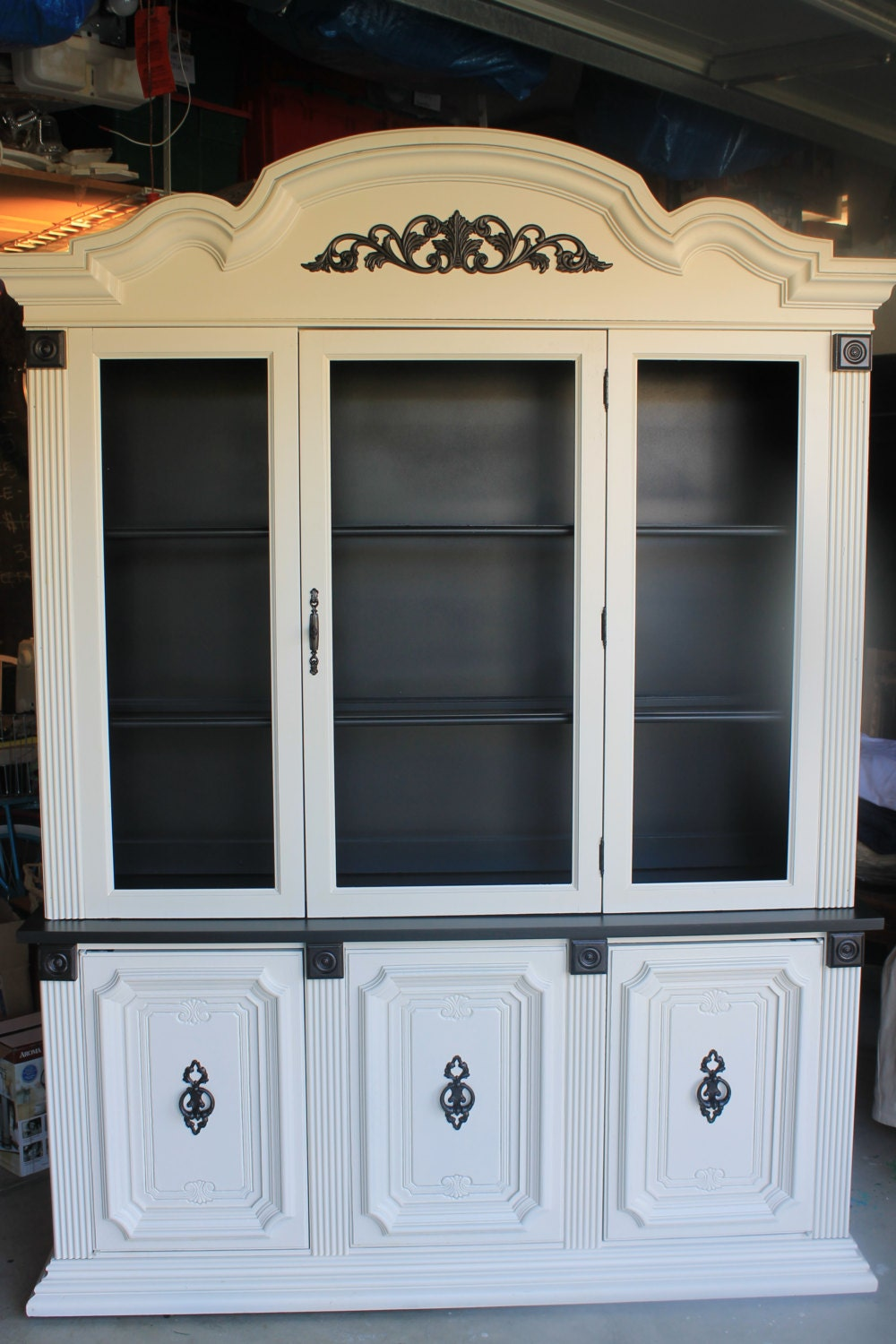Upcycled China Cabinet Black And Antique White 25 Off