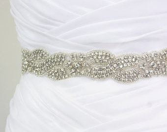 HELENA - Floral Crystal Rhinestone Braided Bridal Sash, Wedding Beaded Sash, Bridal Belts