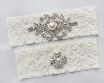 RACHEL II - Vintage Inspired Wedding Lace Garter, Rhinestone Crystal Bridal Garter Set, Pearl Wedding Garters