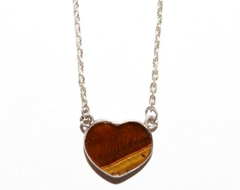 Tiger Eye Heart Pendant Necklace