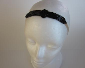 Black beaded headband black gatsby dress beaded great gatsby 1920s headband serre tete black beaded headpiece black gatsby dress