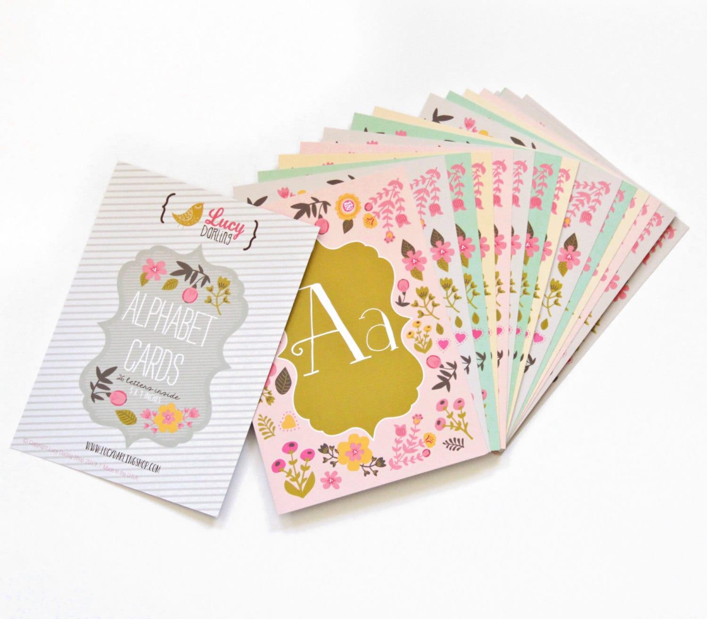 Baby Nursery Art Print Dog Abc Nursery Decor Alphabet Print: ABC Baby Nursery Alphabet Cards 5x7 Nursery Print Cards Floral
