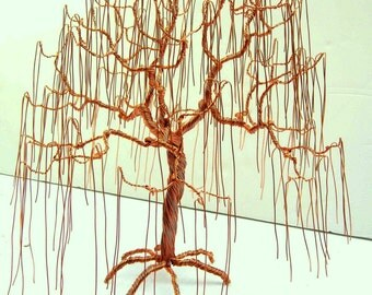 Copper Weeping Willow, Wire Tree,  Art Sculpture