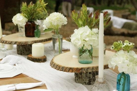 Rustic wood tree slice wedding decor by rusticweddingsupply