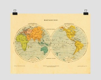 World Hemispheres Map, Retro Wall Map for Home Decor, Poster