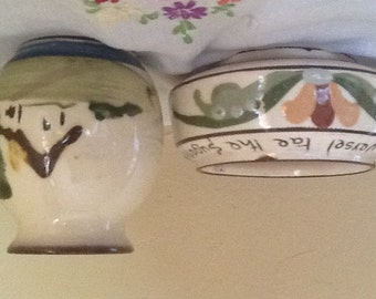 Vintage  Adorable Torquay Pottery Motto Ware Small Bud Vase or Creamer and Sugar Bowl