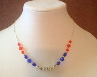 Classy College Necklace - University of Florida, orange and blue