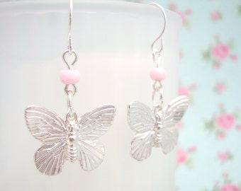 Silver Butterfly Earrings, Pastel Pink Earrings, Baby Pink Jewellery for Mum, Sterling Silver
