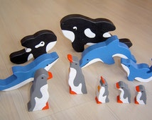 pdf patterns / tutorial for 10 different wooden animals in Waldorf style, DIY- orca, dolphin, penguin