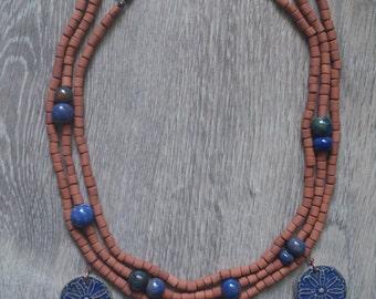 "Ceramic necklace in traditonal Ukrainian style - ""Barvinok"""