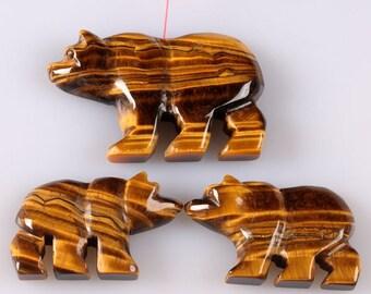 g0750 Carved golden tiger's eye bear pendant earrings beads set 50mm & 35mm
