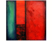 Abstract acrylic painting, Acrylic painting,- black, red, teal. 18x18 By Ava