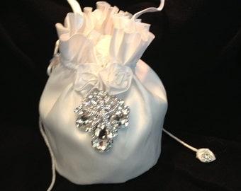 Beach Themed Wedding Bridal Money Bag, Elegant Swarovski Crystal Starfish