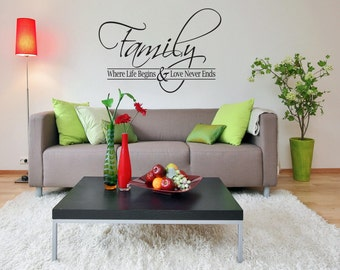 """Large Removable """"Family"""" Wall Decal"""