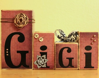 Gigi Wood Blocks- Grandma Personalized Gift- Gigi Gift- Custom Wood Blocks- Personalized Wood Blocks
