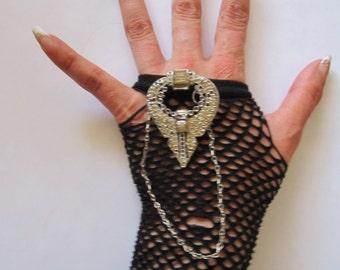 Black Fishnet fingerless Rocker glove