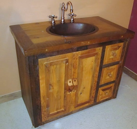 Reclaimed Wood Bathroom Vanity by BarnWoodFurniture72 on Etsy