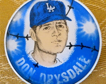 Original 1960's  LA Los Angeles Dodgers Don Drysdale Baseball Flicker Flasher Pin Back Button - Free Shipping