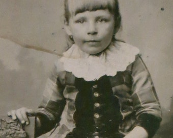 Original 1890's Victorian Era Pretty Little Girl With Bangs Tintype Photograph - Free Shipping