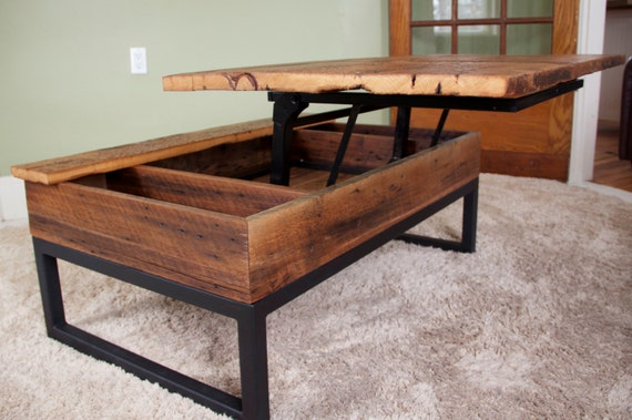 Coffee table reclaimed barn board lift top wood metal Lifting top coffee table