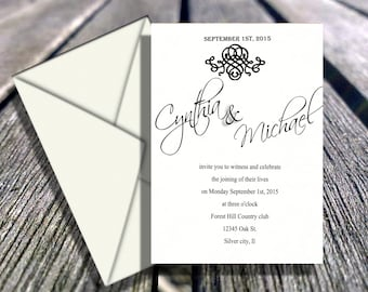 wedding invitations,  invitation invites invite  Black and white embellishment  RSVP and reception cards