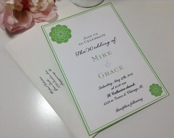 DEPOSIT Wedding Invitations, invites  Set sweet love green flowers wedding invites