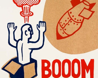 booom  / hand printed woodcut and collage / limited edition