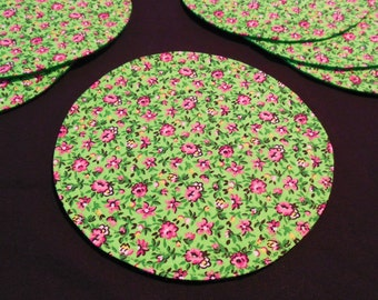 Bright Green Fabric Coasters Retro Spring Summer Flowers 6 Coasters