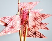 Hot PInk Embossed Flower Cupcake Toppers Set of 12