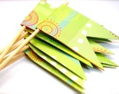 Light Green with Circle Bursts Cupcake Toppers Set of 12
